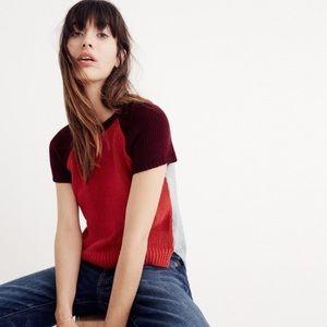 Madewell colorblock crop sweater tee XS NWT